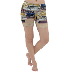 Retro Cars Lightweight Velour Yoga Shorts by vintage2030