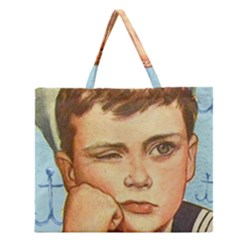 Retro Boy Zipper Large Tote Bag by vintage2030