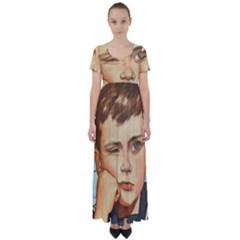 Retro Boy High Waist Short Sleeve Maxi Dress