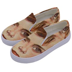 Retro Boy Kids  Canvas Slip Ons by vintage2030