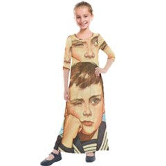 Retro Boy Kids  Quarter Sleeve Maxi Dress by vintage2030