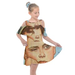 Retro Boy Kids  Shoulder Cutout Chiffon Dress
