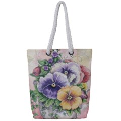 Lowers Pansy Full Print Rope Handle Tote (small) by vintage2030