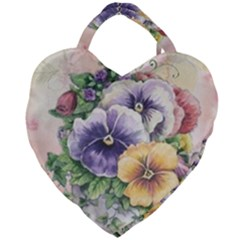 Lowers Pansy Giant Heart Shaped Tote by vintage2030
