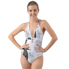 Vintage 1409215 1920 Halter Cut Out One Piece Swimsuit