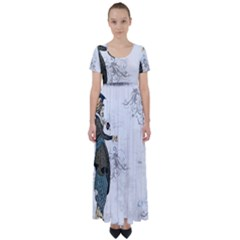 Vintage 1409215 1920 High Waist Short Sleeve Maxi Dress