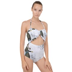 Vintage 1409215 1920 Scallop Top Cut Out Swimsuit