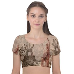 Vintage 1254690 1280 Velvet Short Sleeve Crop Top