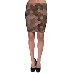 Brown Background Layout Polygon Bodycon Skirt by Sapixe