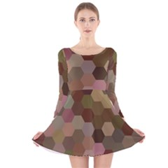 Brown Background Layout Polygon Long Sleeve Velvet Skater Dress