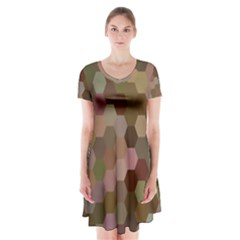 Brown Background Layout Polygon Short Sleeve V Neck Flare Dress