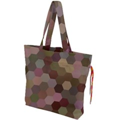 Brown Background Layout Polygon Drawstring Tote Bag by Sapixe