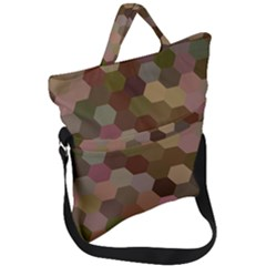 Brown Background Layout Polygon Fold Over Handle Tote Bag