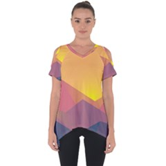Image Sunset Landscape Graphics Cut Out Side Drop Tee by Sapixe