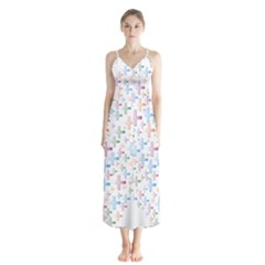 Heart Colorful Transparent Religion Button Up Chiffon Maxi Dress