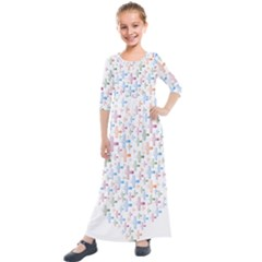 Heart Colorful Transparent Religion Kids  Quarter Sleeve Maxi Dress