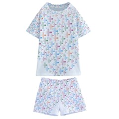 Heart Colorful Transparent Religion Kids  Swim Tee And Shorts Set