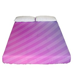 Diagonal Pink Stripe Gradient Fitted Sheet (queen Size)