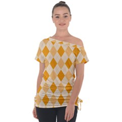 Argyle Pattern Seamless Design Tie Up Tee