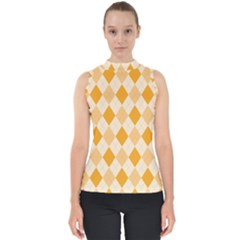 Argyle Pattern Seamless Design Mock Neck Shell Top by Sapixe