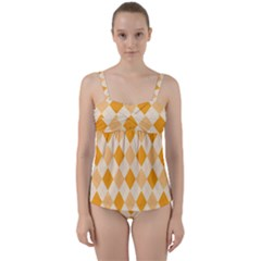 Argyle Pattern Seamless Design Twist Front Tankini Set