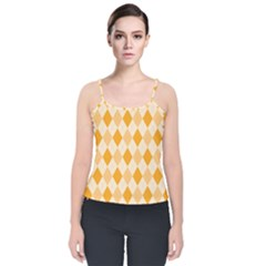 Argyle Pattern Seamless Design Velvet Spaghetti Strap Top by Sapixe