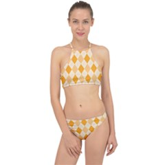 Argyle Pattern Seamless Design Racer Front Bikini Set