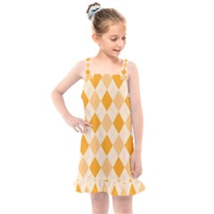 Argyle Pattern Seamless Design Kids  Overall Dress