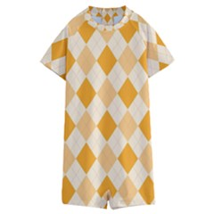 Argyle Pattern Seamless Design Kids  Boyleg Half Suit Swimwear