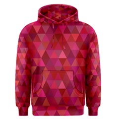 Maroon Dark Red Triangle Mosaic Men s Pullover Hoodie by Sapixe