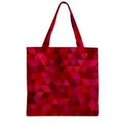 Maroon Dark Red Triangle Mosaic Zipper Grocery Tote Bag by Sapixe