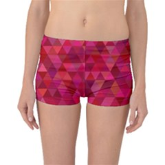 Maroon Dark Red Triangle Mosaic Boyleg Bikini Bottoms