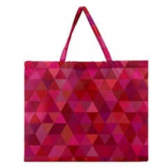 Maroon Dark Red Triangle Mosaic Zipper Large Tote Bag by Sapixe