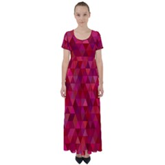 Maroon Dark Red Triangle Mosaic High Waist Short Sleeve Maxi Dress