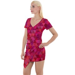 Maroon Dark Red Triangle Mosaic Short Sleeve Asymmetric Mini Dress