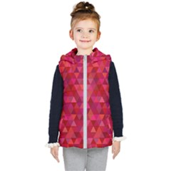 Maroon Dark Red Triangle Mosaic Kid s Hooded Puffer Vest