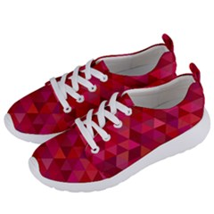 Maroon Dark Red Triangle Mosaic Women s Lightweight Sports Shoes by Sapixe
