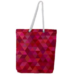 Maroon Dark Red Triangle Mosaic Full Print Rope Handle Tote (large)