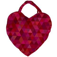 Maroon Dark Red Triangle Mosaic Giant Heart Shaped Tote by Sapixe