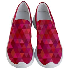 Maroon Dark Red Triangle Mosaic Women s Lightweight Slip Ons