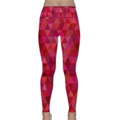 Maroon Dark Red Triangle Mosaic Lightweight Velour Classic Yoga Leggings