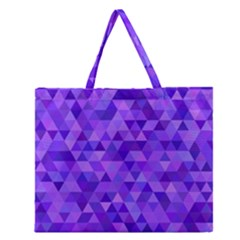 Purple Triangle Purple Background Zipper Large Tote Bag