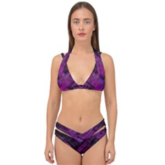 Background Wallpaper Motif Design Double Strap Halter Bikini Set