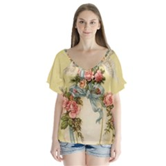 Easter 1225798 1280 V Neck Flutter Sleeve Top