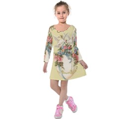 Easter 1225798 1280 Kids  Long Sleeve Velvet Dress