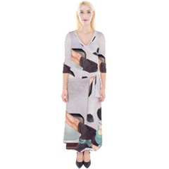 Vintage 1133810 1920 Quarter Sleeve Wrap Maxi Dress