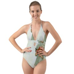 Vintage 1225887 1920 Halter Cut Out One Piece Swimsuit
