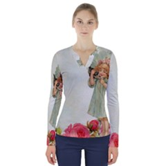 Vintage 1225887 1920 V Neck Long Sleeve Top