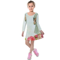 Vintage 1225887 1920 Kids  Long Sleeve Velvet Dress