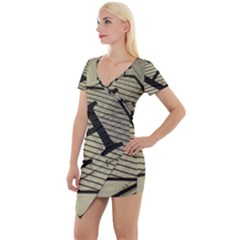 Fabric Pattern Textile Clothing Short Sleeve Asymmetric Mini Dress by Sapixe